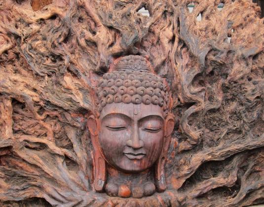 buddha fire head wood